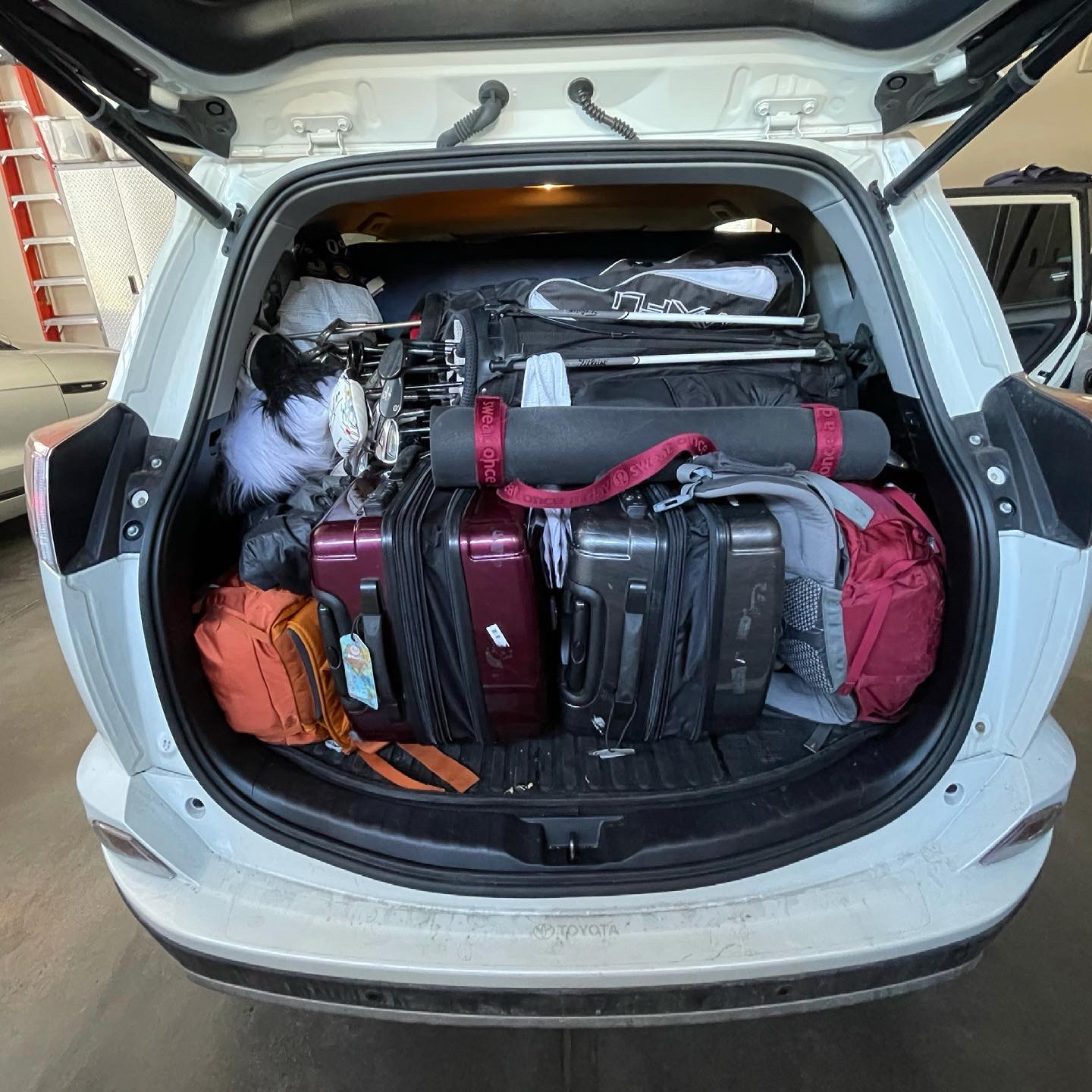 It took us almost an hour to figure out how to fit all of our stuff into the car the first time we packed it. We will be shedding possessions throughout the first few months of our journey, but we wanted to bring everything we might need to start.