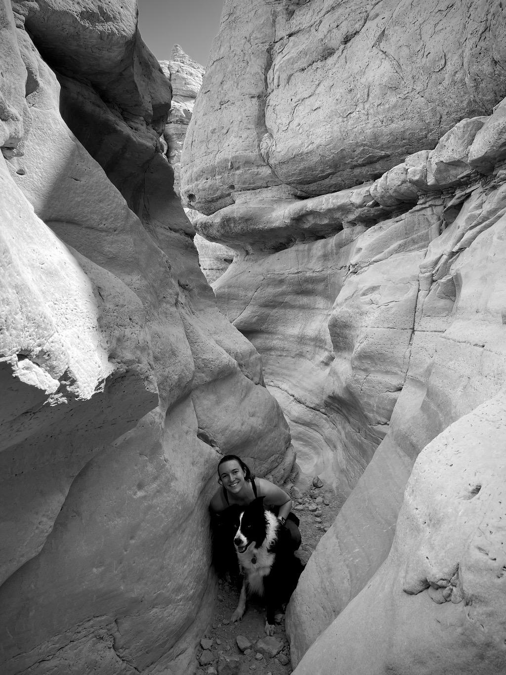 Climbing through the slot canyon at Plaza Bianco.