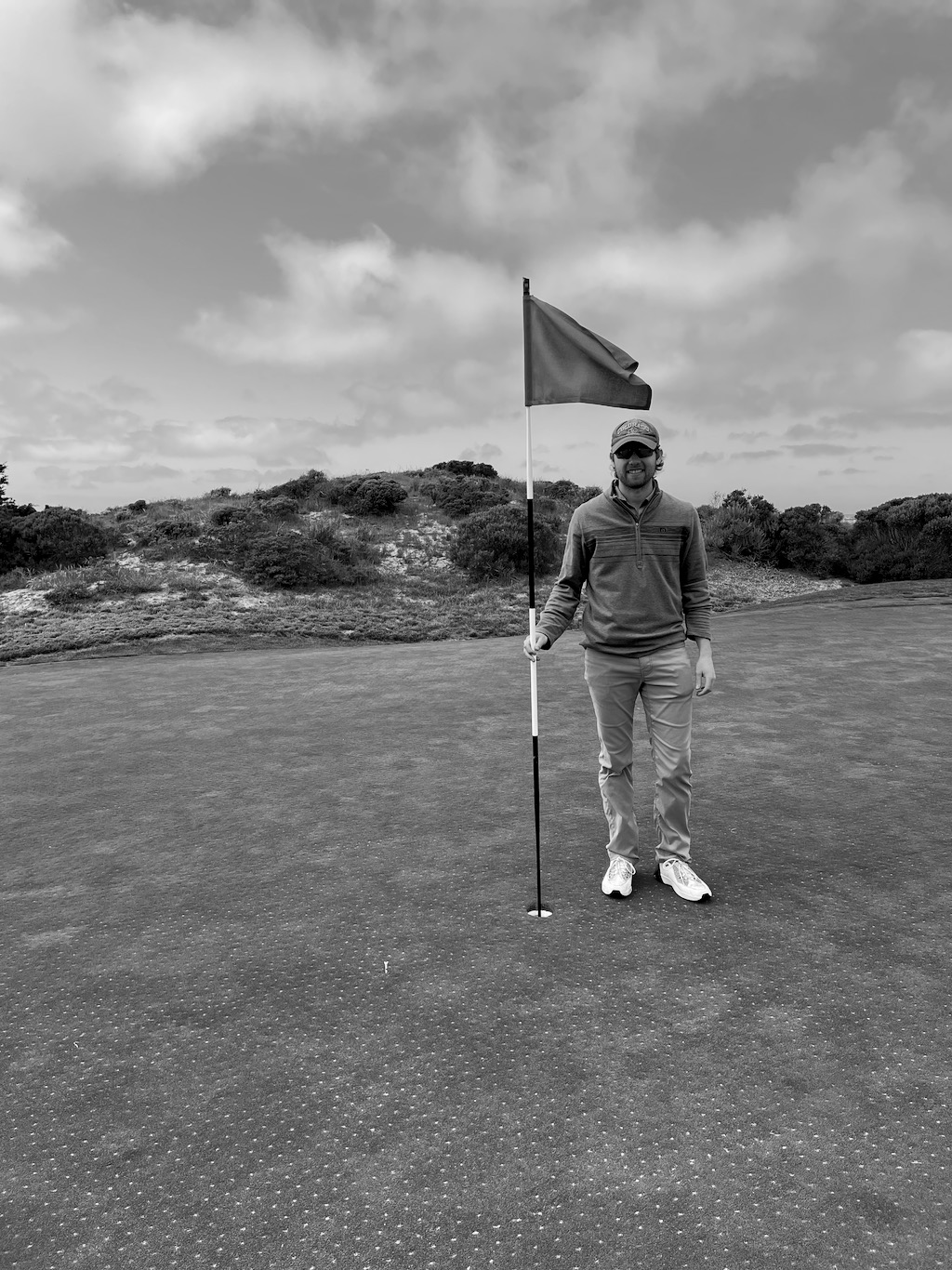I nearly made double eagle (2 on a par 5) on the last hole at Spanish Bay.