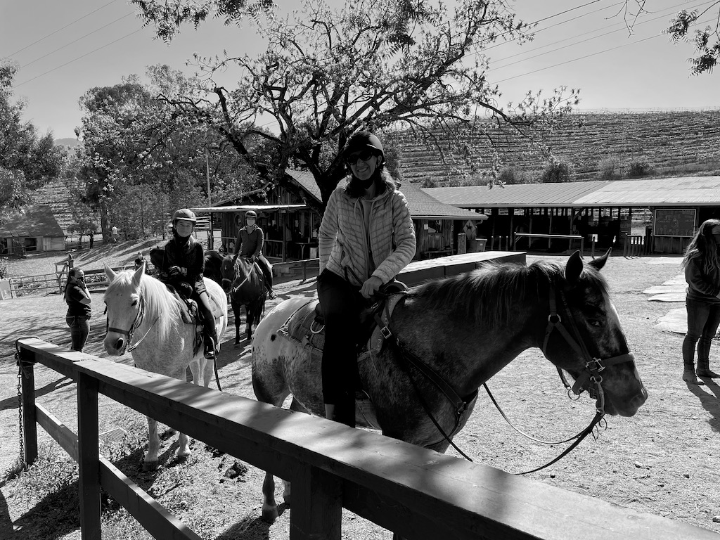 Horseback riding with our cousin and aunt.