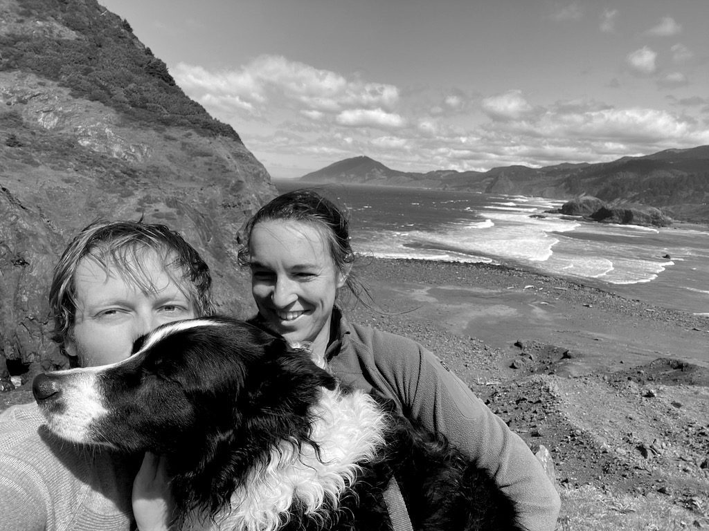 Here we are on a family hike. It was super windy and Skutull was refusing to look at the camera, so I had to prop his head up. You can also see how bad I needed a haircut!