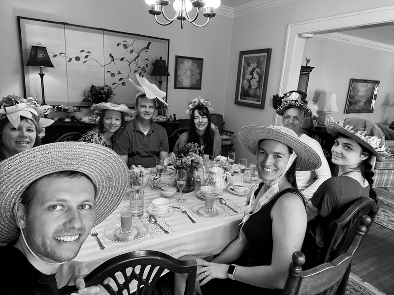 Family tea time to honor Gran, Shelby's grandmother who passed away recently. She took me to my first high tea when I flew to Atlanta with Shelby for the first time as a ninteen-year-old. I have many fond memories of high tea with her over the years and will always think of her when I'm wearing a funny hat or smearing clotted cream on a scone.