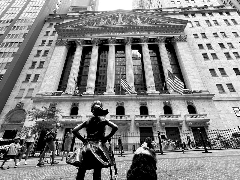 Skutull made buddies with The Fearless Girl at the NY Stock Exchange.