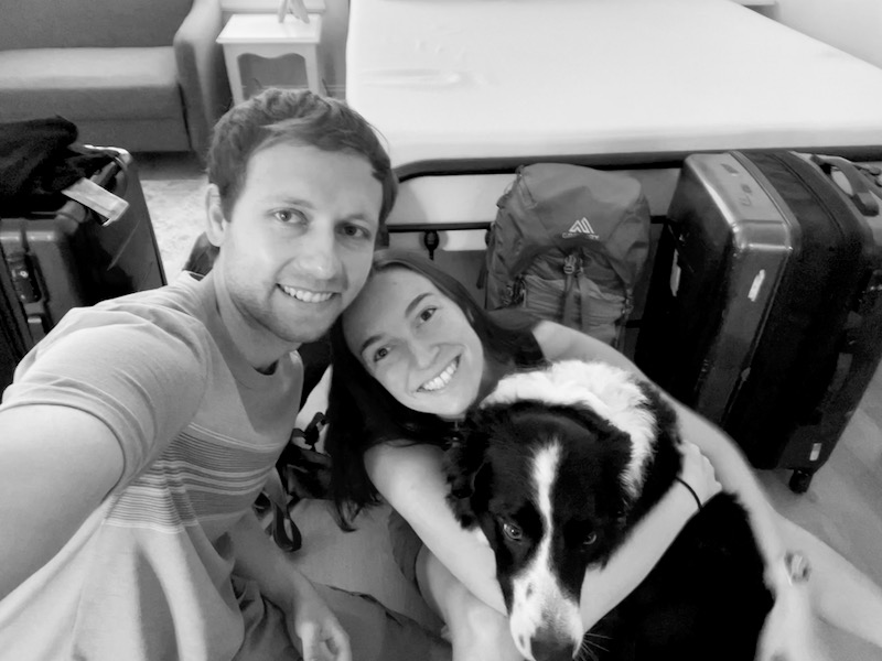 Us and all of our stuff just before we left for the airport. Skutull was already a little nervous and wouldn't look at the camera.